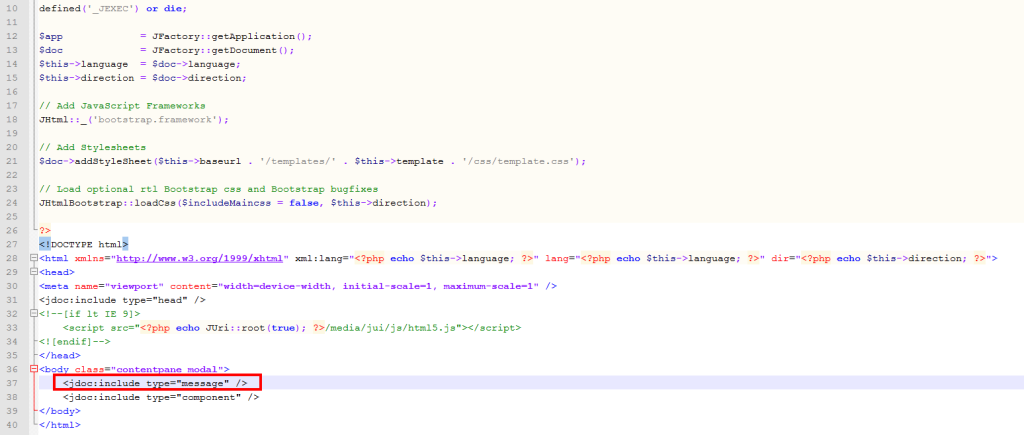 добавить системные сообщения Joomla в шаблон
